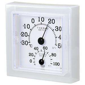 クレセル 温湿度計 壁掛け・卓上用 ホワイト CR-12W - 拡大画像