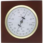 クレセル 日本製 天然木 温湿度計 卓上用 ブラウン CR-640