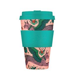 Ecoffee Cup(エコーヒー カップ) カップ ソーサー 繰り返し使える 環境に優しい バンブーファイバー 400ml LYNX [650 510] - 拡大画像