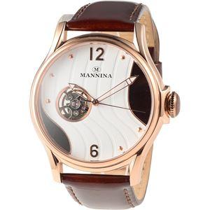 MANNINA(マンニーナ) 腕時計 MNN004-04 メンズ 正規輸入品 ブラウン(文字盤:ホワイト×ダークブラウン) - 拡大画像