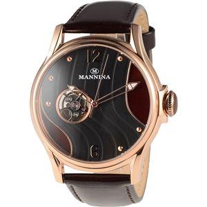 MANNINA(マンニーナ) 腕時計 MNN004-05 メンズ 正規輸入品 ブラウン(文字盤:ブラック×ブラウン) - 拡大画像