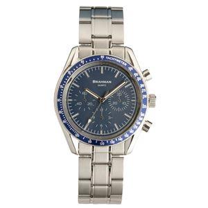 [ブラフマン] 腕時計 日本製ムーブメント フェイククロノグラフ 3針 BR001-03 【文字盤:ブルー】 - 拡大画像