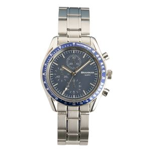 [ブラフマン] 腕時計 日本製ムーブメント フェイククロノグラフ 3針 BR002-03 【文字盤:ブルー】 - 拡大画像