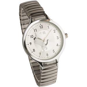 [千鶴] 腕時計 3針 猫デザイン 伸縮ジャバラベルト CDW001-001 シルバー - 拡大画像