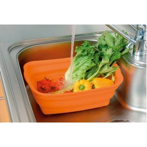 たたんでコンパクト収納!やさしいシリコン製「脚付きシリコン洗い桶」 オレンジ - 拡大画像