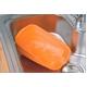 たたんでコンパクト収納!やさしいシリコン製「脚付きシリコン洗い桶」 オレンジ - 縮小画像2