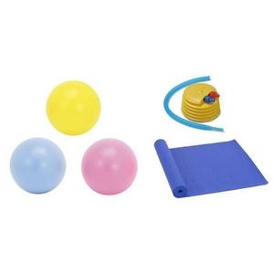 エクササイズ エクササイズボール&ソフトトレーニングボール&マットの3点セット イエロー(04) 55CM 【2セット】 - 拡大画像
