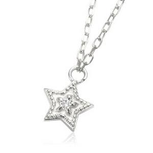 me. 【95-0412】k10WGD天然ダイヤモンド0.01ct星ネックレス K10ホワイトゴールド TJ201002017ME - 拡大画像