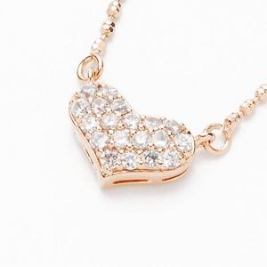 Beji(ベジ) heartパヴェ/ネックレス/Natural Pink×White Stone【czダイヤ】【矢部美佳さん着用】 - 拡大画像