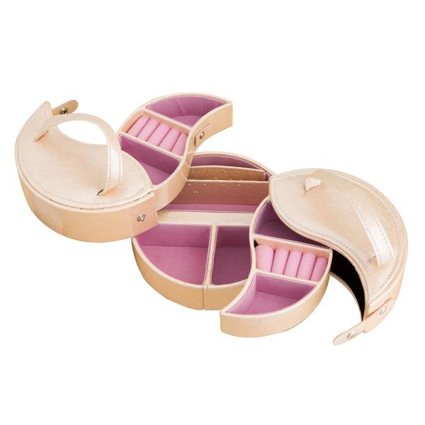 ジュエリーボックス/宝石箱 【丸型】 引き出し収納付き TR2119 ピンク