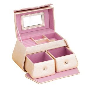ジュエリーボックス/宝石箱 【バッグ型】 ミラー/引き出し収納付き TR2118 ピンク - 拡大画像