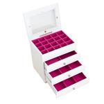 ジュエリーボックス(宝石箱) 4段 引き出し収納付き ホワイト(白)