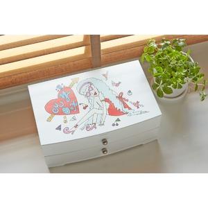 ジュエリーボックス(宝石箱) 2段 引き出し収納付き ホワイト(白)