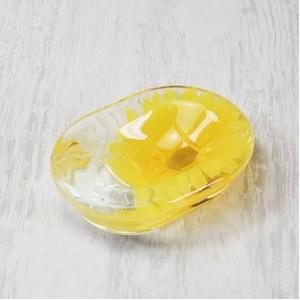 アクリル製ソープディッシュ/石鹸置き 【ひまわり柄】 造花 - 拡大画像