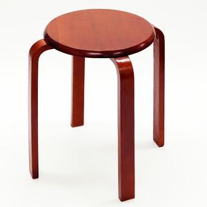 木製丸椅子 丸いす スタッキングチェア(ブラウン) - 拡大画像