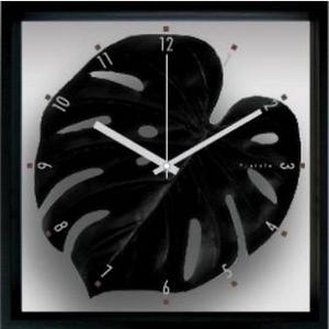 風景専門店あゆわら 《リーフパネル》F-style Clock Monstera deliciosa / Black (モンステラ・デリシオサ) - 拡大画像