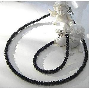 ブラックスピネルネックレス 45cm + ブレス20cm 5mmタイプ - 拡大画像