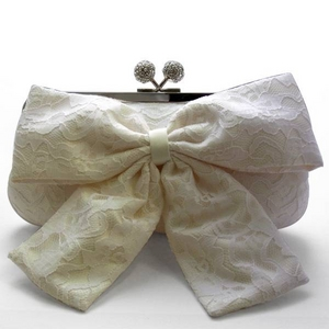 Sondra Roberts(サンドラ・ロバート) パーティーバッグ クラッチ Lace Bow Clutch ホワイト R47809B -WH - 拡大画像