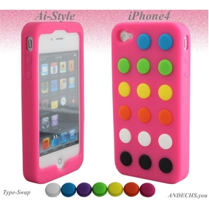 Ai-Style Series iPhone4 シリコンケース Type Swap【Ai4-Swap-Pink】ピンク - 拡大画像