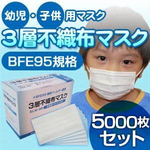 【幼児・子供用マスク】3層不織布マスク 5000枚セット  - 拡大画像