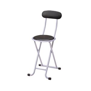 折りたたみ椅子/折り畳み椅子 【ブラック】 幅310×奥行440×高さ730mm スチールフレーム 〔リビング〕 完成品 - 拡大画像