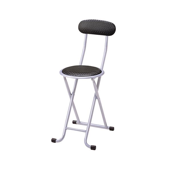 折りたたみ椅子/折り畳み椅子 【ブラック】 幅310×奥行440×高さ730mm スチールフレーム 〔リビング〕 完成品