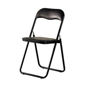 折りたたみ椅子/折り畳み椅子 【ブラック】 幅440×奥行465×高さ815mm スチールフレーム 〔リビング〕 完成品 - 拡大画像