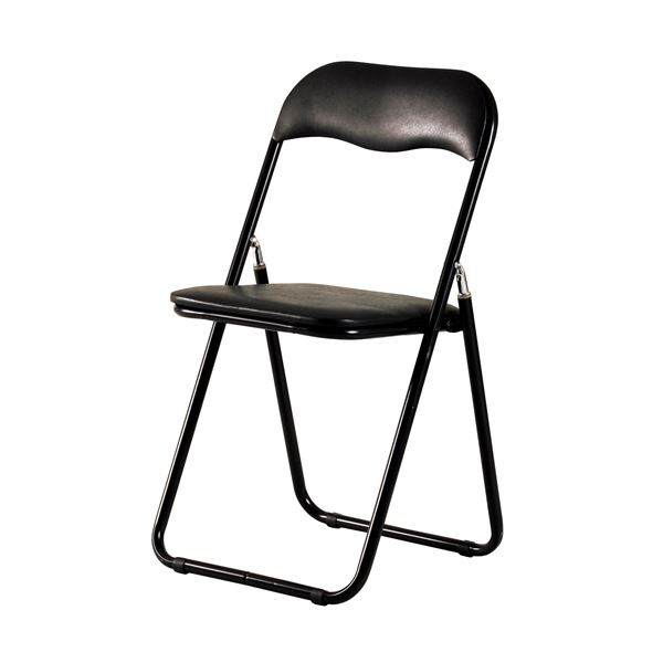 折りたたみ椅子/折り畳み椅子 【ブラック】 幅440×奥行465×高さ815mm スチールフレーム 〔リビング〕 完成品