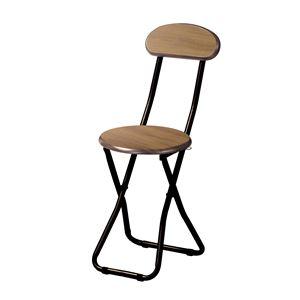 折りたたみ椅子/フォールディングチェア 【木目柄 ブラウン】 幅305mm 〔リビング ダイニング〕 完成品 - 拡大画像