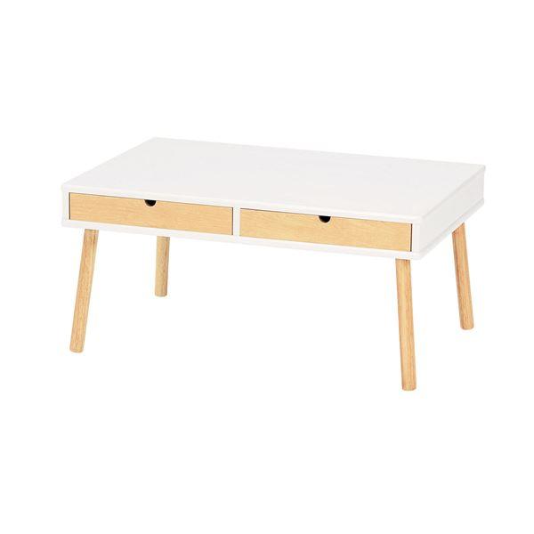 引き出し付き センターテーブル/ローテーブル 【ホワイト 幅750mm】 木製脚付き 〔リビング ダイニング〕 完成品
