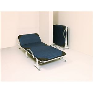 折りたたみベッド 【ネイビー 幅990mm】 5段階リクライニング 布張地 スチールフレーム キャスター付き 〔寝室〕 組立品 - 拡大画像