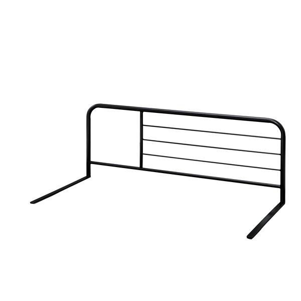ベッドサイドガード 【ブラック】 幅895×奥行450×高さ340mm スチールフレーム 両側対応 〔ベッドルーム 寝室〕 完成品