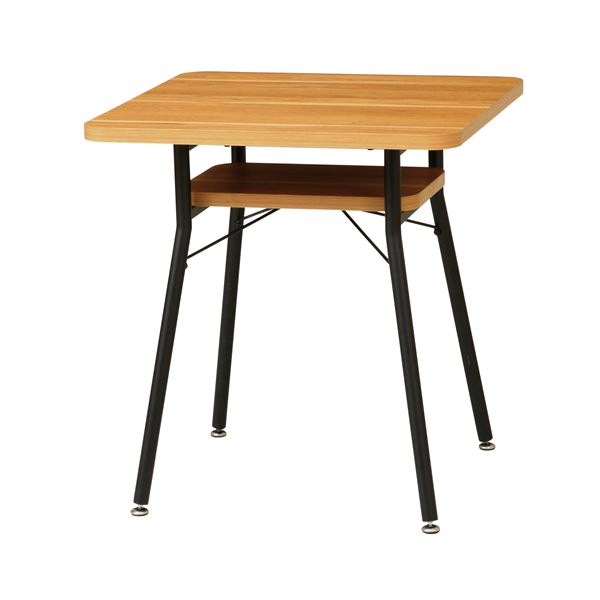 ダイニングテーブル/食卓テーブル 【幅650×奥行650×高さ680mm】 スチールフレーム 棚付き 〔リビング ダイニング〕 組立品