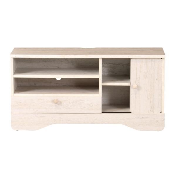 テレビ台/テレビボード 【ホワイト】 幅905×奥行290×高さ455mmm 木製取っ手 引き出し付き 〔リビング〕 組立品