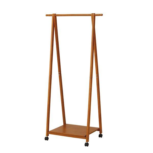 木製 コートハンガー/ハンガーラック 【ブラウン】 幅775×奥行450×高さ1550mm 棚付き 〔リビング 寝室〕 組立品