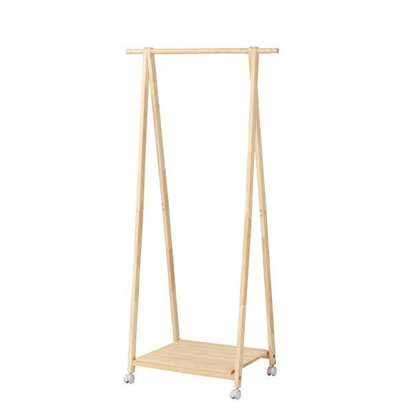 木製 コートハンガー/ハンガーラック 【ナチュラル】 幅775×奥行450×高さ1550mm 棚付き 〔リビング 寝室〕 組立品