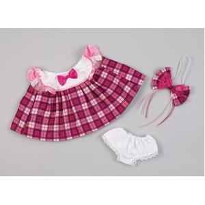 夢コレ45 ピンクのチェック柄ワンピース(リボン、パンツ付き)