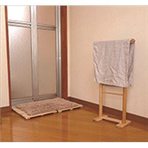 木製 タオルスタンド/タオル掛け 【Lサイズ】 約350×150×680mm 自立式 ヒノキ製 〔ベランダ 庭 テラス〕