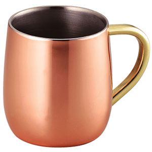 銅製 2重マグカップ/タンブラー 【250ml】 日本製 ステンレス ミラー仕上げ 抗菌性 『アサヒ』 〔カフェ バー〕 - 拡大画像