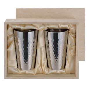 チタン製 タンブラー/ビアカップ 【2PCセット】 日本製 ミラー仕上げ 2重カップ 『アサヒ』 〔カフェ バー〕 - 拡大画像