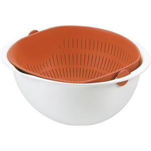 ボウル一体型ざる/調理器具 【小サイズ オレンジ】 日本製 食器洗浄機対応 『ミラくるザル・ボウル』 〔キッチン 台所〕