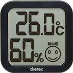 デジタル温湿度計 【ブラック】 約81×81×17mm 壁掛けフック穴 スタンド付き 単4電池対応 〔リビング ダイニング〕