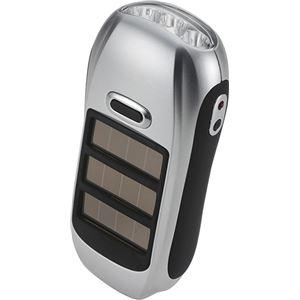 ハンディ型 ソーラーライト/LED電灯 【約45mm×125mm×40mm】 軽量タイプ ダイナモ式充電 ソーラー充電 『HOME SWAN』