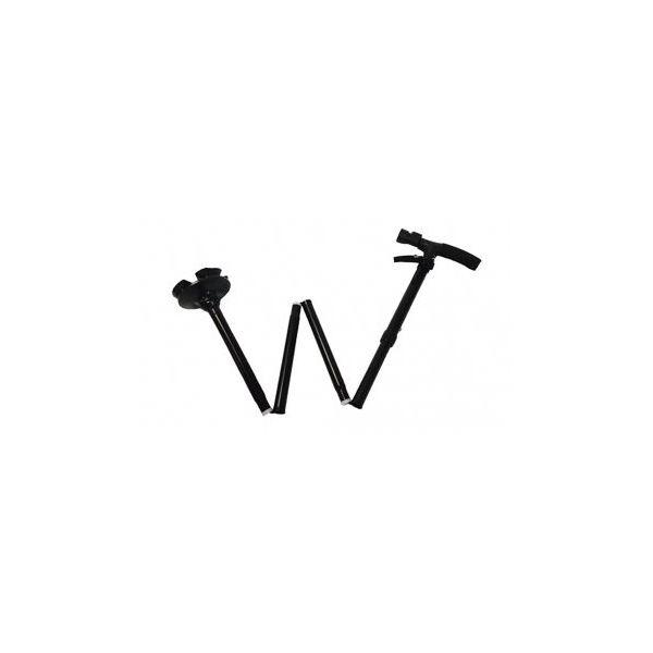 自立式 折りたたみステッキ 【5段階】 840〜940mm 軽量 4脚タイプ回転軸ヘッド LEDライト付き 〔プレゼント 贈り物〕