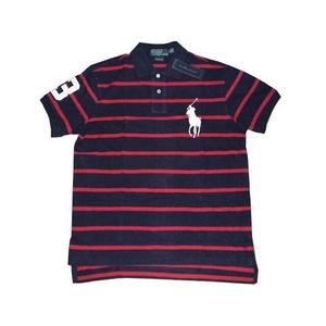 POLO Ralph Lauren(ポロ ラルフローレン) ビッグポニーストライプポロシャツ(半袖) カスタムフィット ネイビー×レッド Lサイズ - 拡大画像