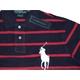 POLO Ralph Lauren(ポロ ラルフローレン) ビッグポニーストライプポロシャツ(半袖) カスタムフィット ネイビー×レッド Lサイズ - 縮小画像2