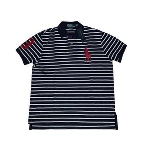 POLO Ralph Lauren(ポロ ラルフローレン) ビッグポニーストライプポロシャツ(半袖) カスタムフィット ネイビー×ホワイト Lサイズ - 拡大画像