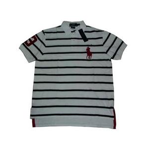 POLO Ralph Lauren(ポロ ラルフローレン) ビッグポニーストライプポロシャツ(半袖) カスタムフィット ホワイト×ネイビー Lサイズ - 拡大画像