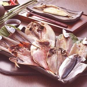 沼津「奧和」のひもの詰合せ5種(9枚)あじ、さんま、かます、金目鯛、ほっけ - 拡大画像