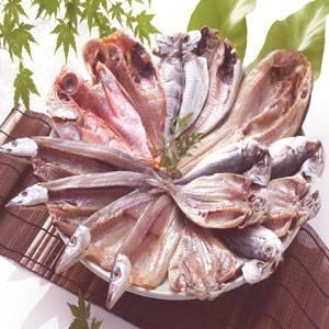 沼津「奧和」のひもの詰合せ6種(15枚)あじ、さんま、かます、金目鯛、えぼ鯛、ほっけ - 拡大画像